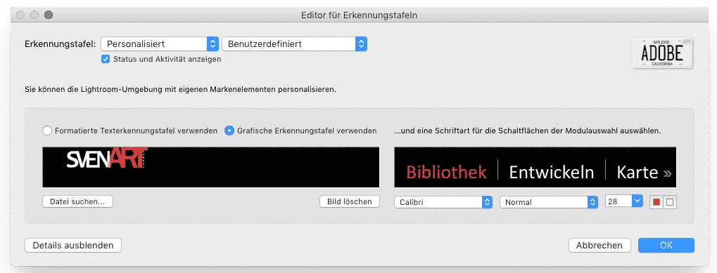 Erkennungstafel in Lightroom CC mit eigenem Logo