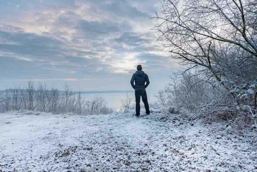 Ausblick auf den Geiseltalsee im Winter