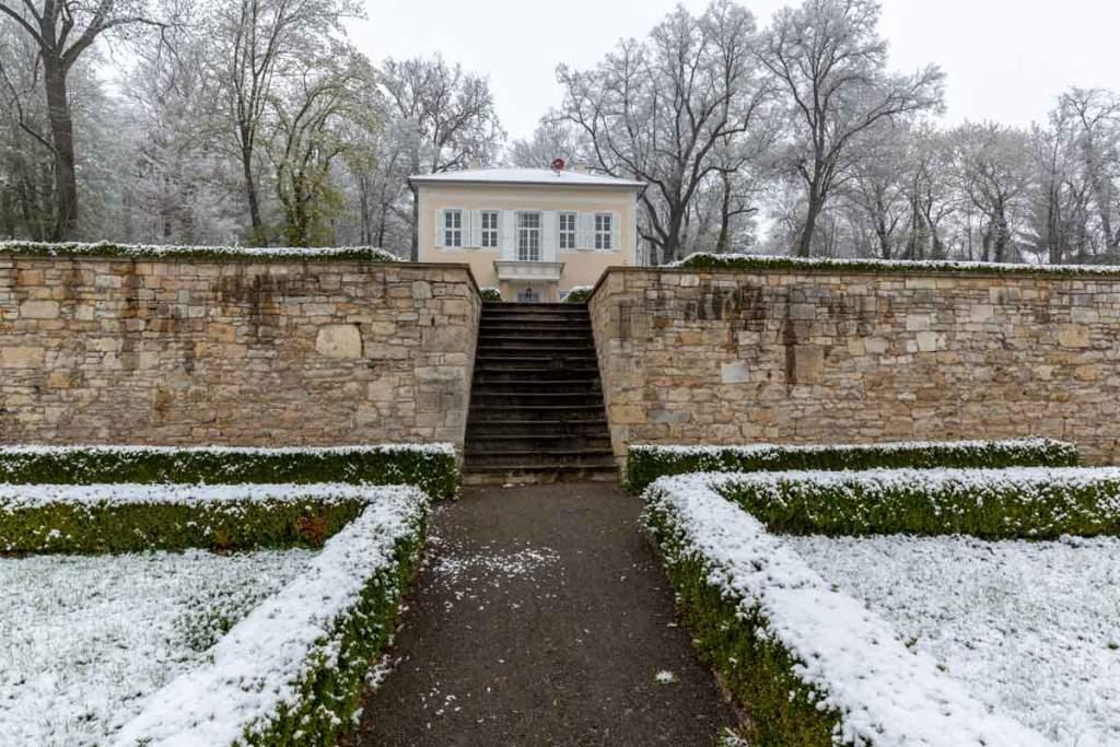 Barockgarten in Mücheln bei Schnee